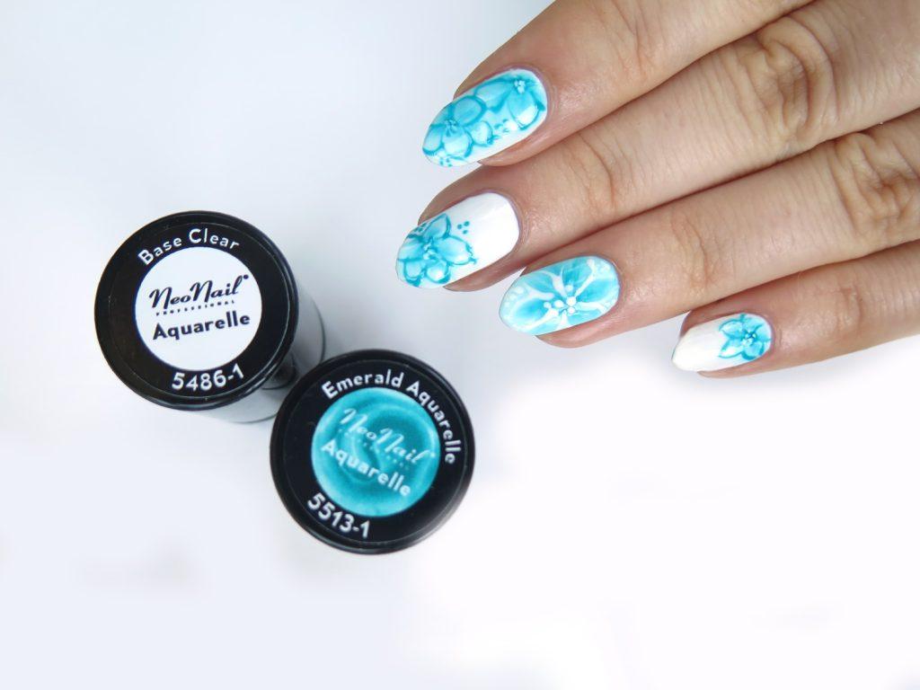 lakiery do paznokci hybrydowe neonail aquarelle base clear oraz emerald
