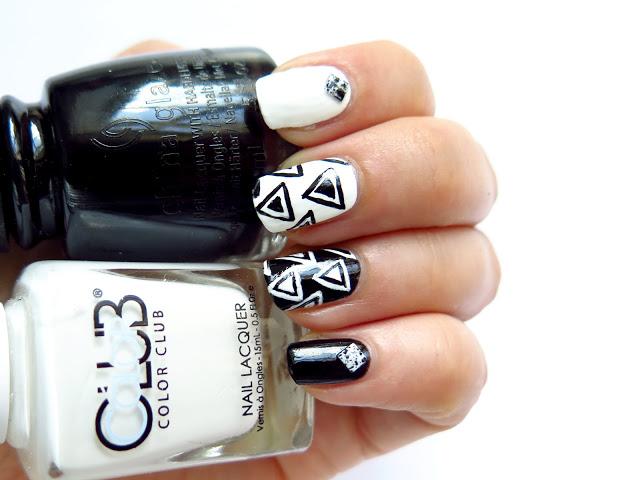 geometryczne czarno-białe wzory ręcznie malowane marmurkowe studs