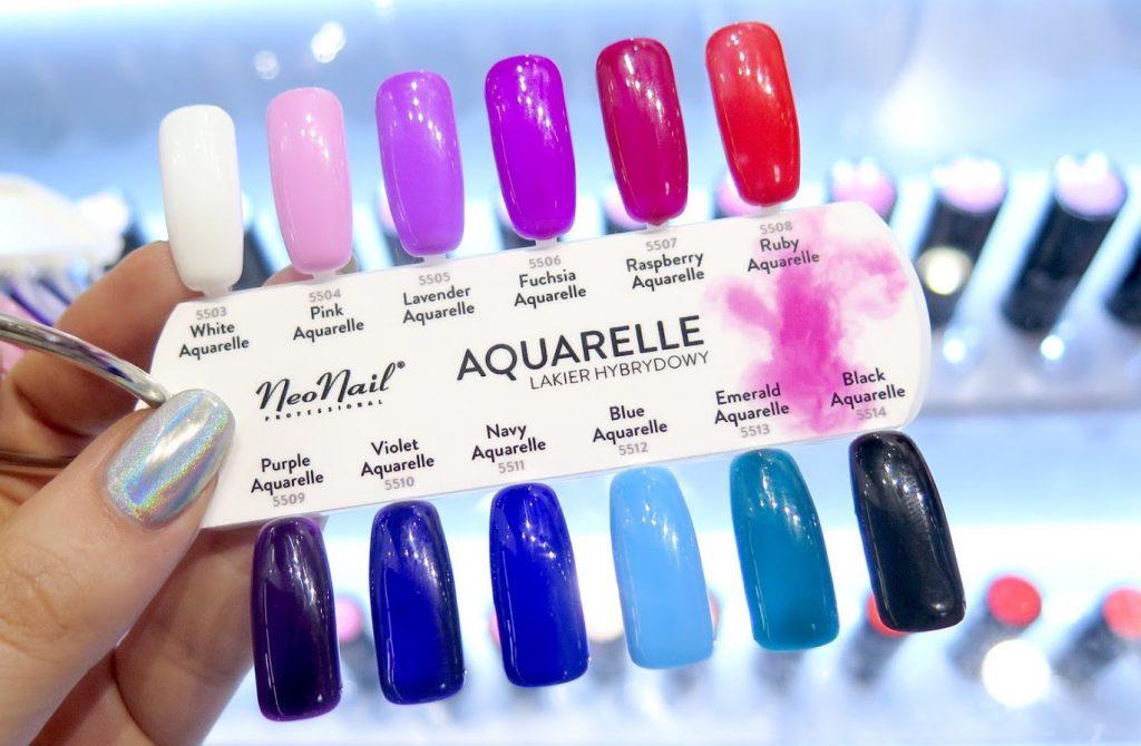 kolekcja neonail aquarelle, wzornik, display, kolory, swatche,